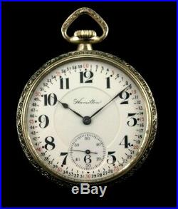 Hamilton 996 16s 19J Railroad Pocket watch Fancy Custom Display Case Near Mint