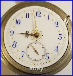 Hampden 18S. 15J. Adj. Grade 60 mint fancy dial gold trimmed (1887) display case