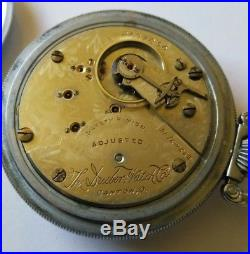 Hampden 18S. 21 jewels The Dueber Watch Co. Card dial train case restored