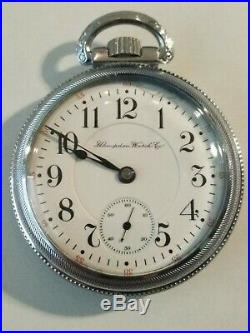 Hampden 18S. John Hancock 21 jewels very nice Railroad watch locomotive case