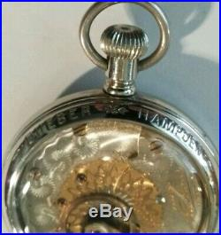 Hampden 18S. Special Railway 21 jewels two-tone movement Hampden display case