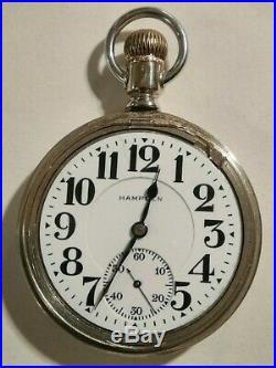 Hampden (1915) 16S. 21 jewels adj. Grade 105 railroad pocket watch nickel case