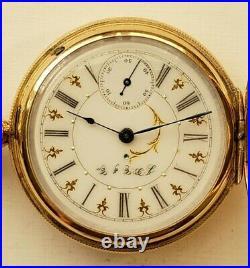 Hampden 6S. 11J. Fancy dial grade No. 206 14K gold filled hunter case (1888) nice
