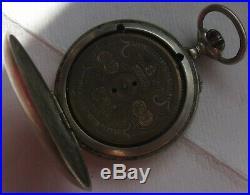 Hebdomas Pocket Watch open nickel chromiun case 50,5 mm. In diameter