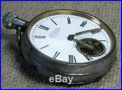 Hebdomas Type 8 Day Swiss Pocket Watch Working Order Gun Metal Case Military