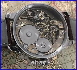 High grade IWC Schaffhausen skeleton cut pocket watch movement in new ss case