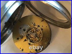 IPF Fusee open face painted dial silver case Serial # 1381 key wind pocket watch