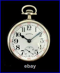 Illinois 18s 17J Railroad Pocket watch Nickel Silver Case Extra Fine Condition