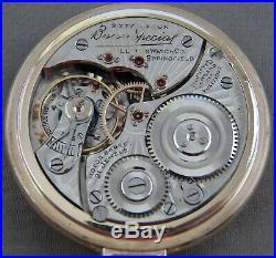 Illinois Bunn Special Railroad Pocket Watch, 21j, 60 Hour, Original Pink GF Case