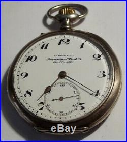 International Watch Co. (iwc) Pocket Watch Silver Case Open Face Arabic Numerals