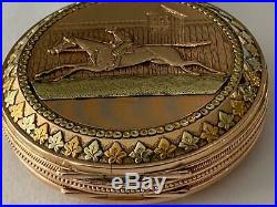 Killer 16 Size Multi-color Hunting Case Jockey & Horse 14k Gold Pocket Watch