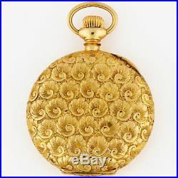 Lady Waltham 14K Solid Gold Hunting Case Pocket Watch 0s 35.5mm Superb Engraving