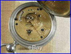 Large 1883 18s Waltham Wm Ellery Keywind Pocket Watch Fahys Case Runs Good
