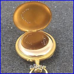 Le Coultre Jaeger Solid 18k Gold Pendant Pocket Watch Engraved Case Diamonds