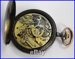 Le Phare W. Co. Swiss MILITARY in gun metal case POCKET WATCH CHRONOGRAPH