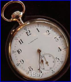 Le Roy Pocket Watch open face 18K solid gold case 50 mm. In diameter