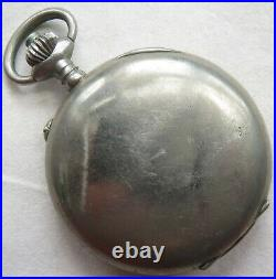 Lemania Chronograph pocket watch open nickel chromiun case load manual