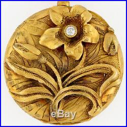 Longines 14K Solid Gold High Relief Ornate 21.5mm Ladies Pocket Watch Swiss Case