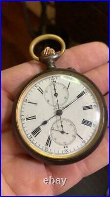 Longines Chronograph Pocket Watch Open Face Gun Case 52 mm. In diameter