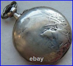 Longines pocket watch open face silver carved case enamel dial