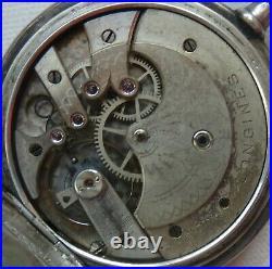 Longines pocket watch silver carved hunter case enamel dial 52 mm. In diameter