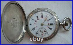 Longines pocket watch silver hunter case enamel dial 50 mm. In diameter