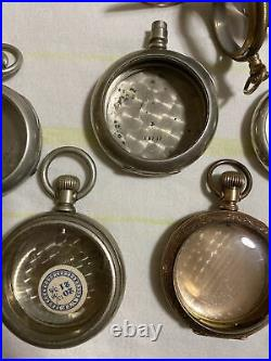Lot of 16 pocket watch cases Good Usable Condition Or Refurbish. Stag, Train. Ect