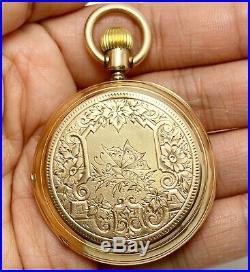 Louis Jacot 14k Gold Hunters Case Pocket Watch (5252)