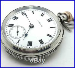 Lovely Working 1915 Silver Cased Waltham Pocket Watch Serial 19158296