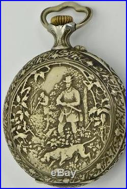 MUSEUM antique Imperial Russian Chased Case pocket watch. Nicholas II portrait