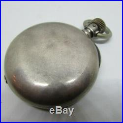 Massive 8.02oz 18s Coin Silver Dueber 5 oz Case Swiss Pocket Watch Runs