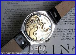 Mens BIG 1896 Antique Elgin USA 6 Size Silverode Case Enamel Dial Wire Lug Watch