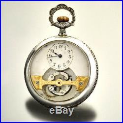 Mobilus Tourbillion Pocket Watch 16 Size Silver Floral Embossed Case Ca1895