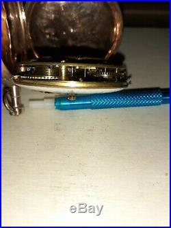 Montre Verge 18ème boitier or rose. Verge pocket watch gold case
