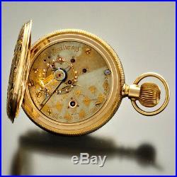 Multicolor Gold Fancy Dial Hampden Pocket Watch 18 Size Hunter Case 23 Jewel