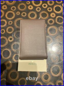 New Rolex Brown Calf Leather Travel Case Watch Pouch