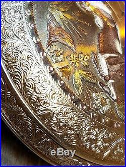 O2 MAGNIFICENT 14K 18K MULTICOLOR GOLD APPLIQUE 18sz Duber HUNTING CASE WATCH