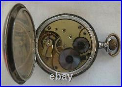 Omega Escasany Pocket watch silver hunter case 51,5 mm. In diameter