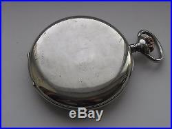Omega rare nickel case 8-day Goliath pocket watch 140mm Circa 1920 enamel dial