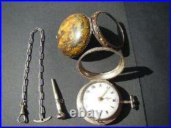 PAINTED TORTOISESHELL TRIPLE CASED VERGE FUSEE POCKET WATCH South German 1780