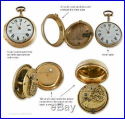 Pair Cased 18th Century Silver Verge Fusee Watch No. 811 H, Nicolls London