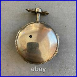 Pair-cased silver tortoiseshell pocket watch verge escapement