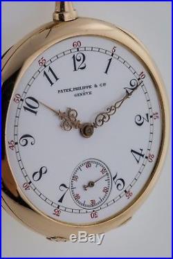 Patek Philippe Pocket Watch, 14K Solid Yellow Gold, Lepin Case Year 1905, Enamel