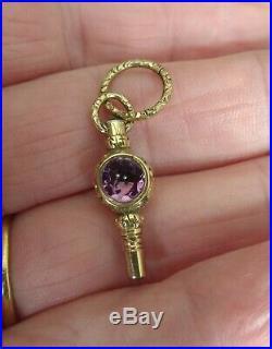 Pocket Watch Key Victorian Gold Cased 2 Gemstones
