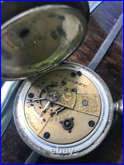 Presented! Silver Waltham Wm Ellery Pocket Watch Size 18s Key Wind Hunter Case