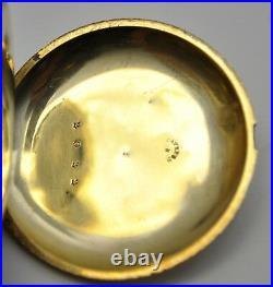 RARE 1860's Antique Charles E Jacot 18k Gold Hunter's 40mm case Pocket Watch