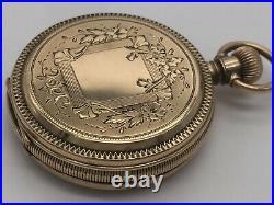 RARE 1885 Waltham 7J Size 8s Seaside Pocket Watch 10k Solid Gold Hunter Case