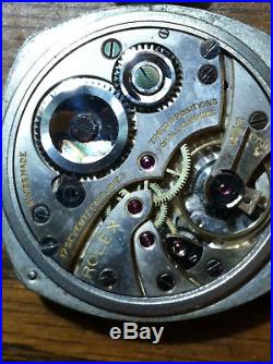 ROLEX Pocket Watch Chronometer 17J 6 Pos Goldfilled Cushion Case + GF Chain HTF