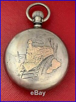Railroad Style 18 Size Pocket Watch Case With Rose Gold Choo-choo Train