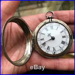 Rare 1758 Verge Fusee Pair Case Pocket Watch With Small Dial by Thomas Shilling